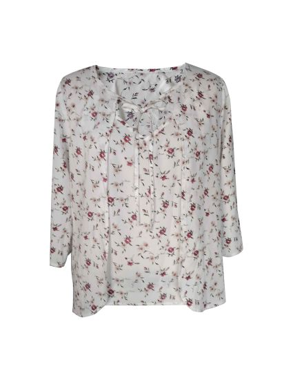Flower Printed Fashion and Elegant Ladies Clothes Women Blouse