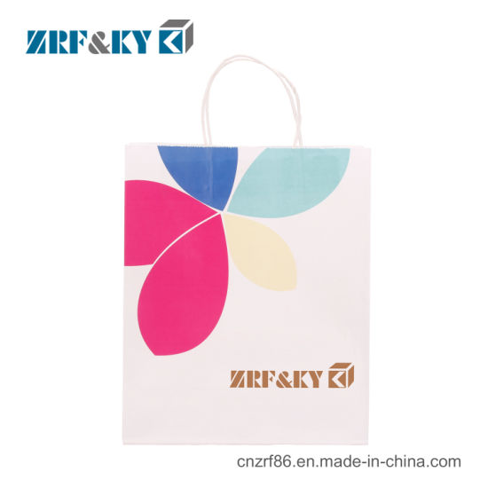 Custom Reusable Printed White Kraft Paper Shopping/Food/Coffee/Cosmetic/Craft/Gift Packing Bags