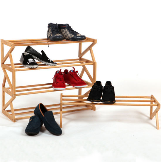 Stackable Vertical DIY Kids Small Bamboo Wooden Shoe Rack pictures & photos