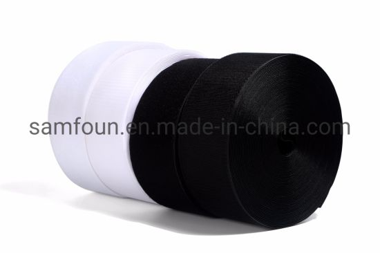 100% Nylon Black and White Hook and Loop Tape Roll with Low Price