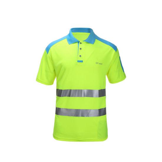 Safety Manufacturer in China Hi-Vis Polyester Contrast Color Safety T-Shirt