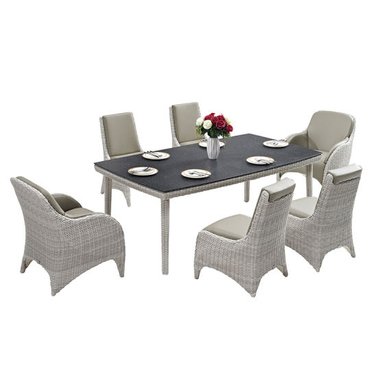 Stupendous Outdoor Wicker Weaving Dining Set Garden Rattan Leather Dailytribune Chair Design For Home Dailytribuneorg