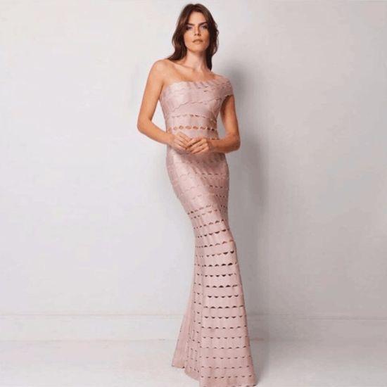 China Long Dress Prom Dress Nude Bandage Dress Evening Dress - China ...