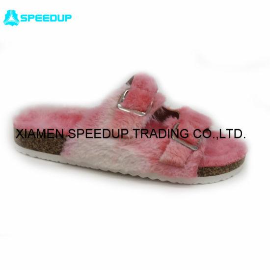 Hot Sell Lady Tie Dye Faux Fur Rabbit Colorful Open Toe Cork Slippers Slide