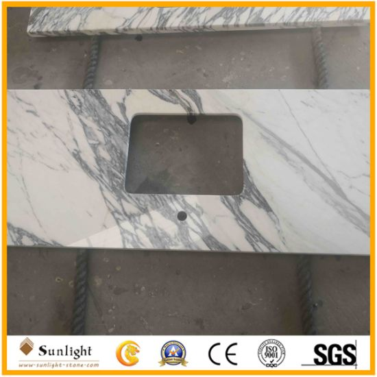 Customize Natural Italy White Arabescato Marble Countertops for Indoor Decoration