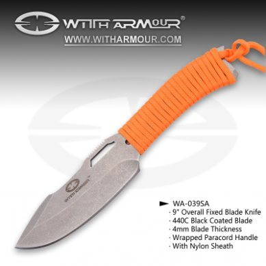 """Overall 9"""" Fixed Blade Knife Satin 440c Blade and Paracord Handle"""