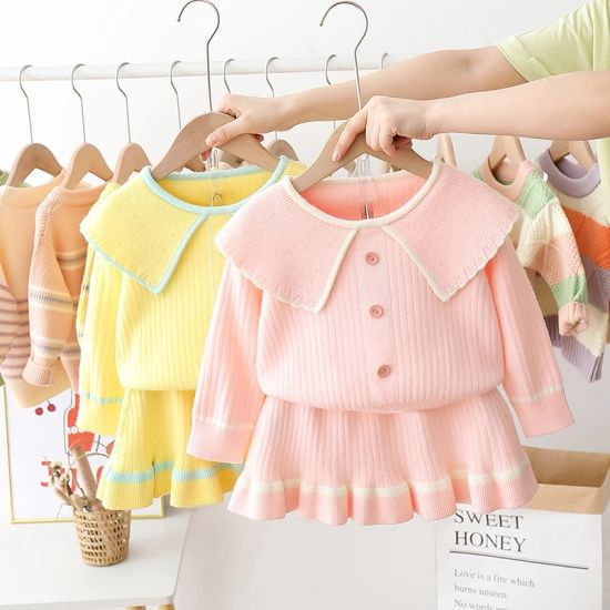 Children Clothing Kids Apparel Baby Garments Wholesale Autumn New Kids Girls Princess Sweater Dress Clothing Sets