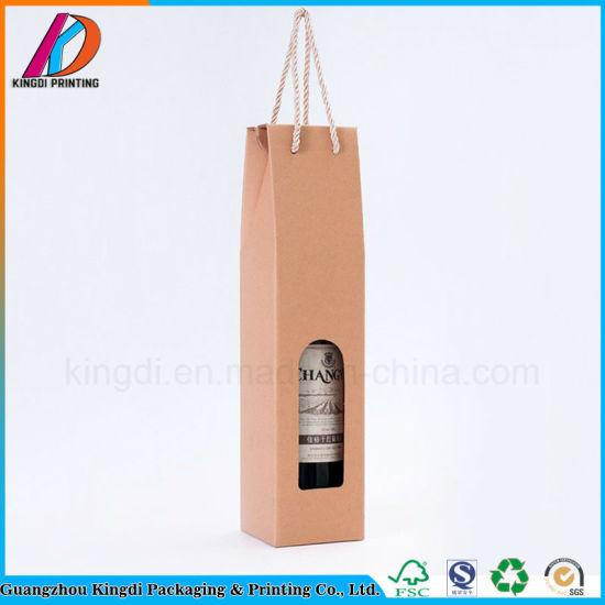 Window Opening Corrugated Cardboard Single Bottle Wine Gift Box With Handle