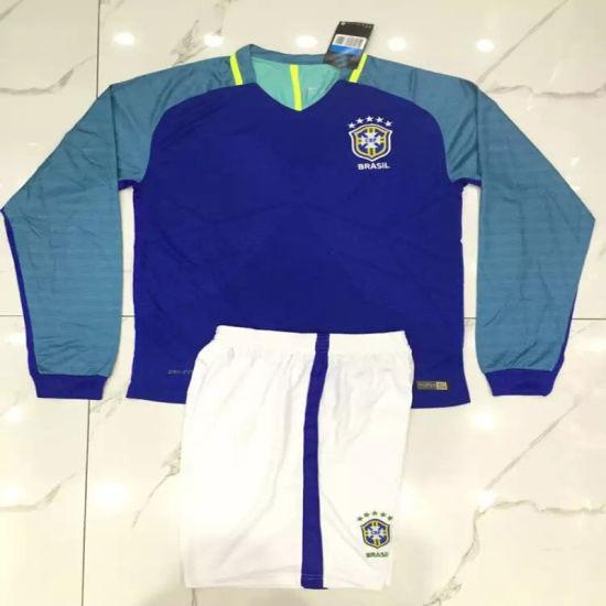 e35ffba3210 2016 2017 Brazil Away Blue Long Sleeve Football Uniforms pictures   photos