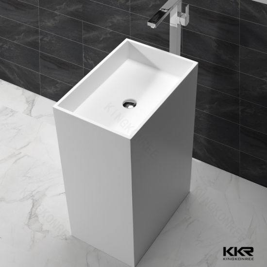 Stone Solid Surface Freestanding Bathroom Sink Pedestal Sinks (180528)