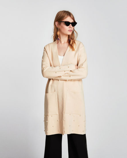 Women Knit Coat with V-Neck Pockets and Pearl Bead
