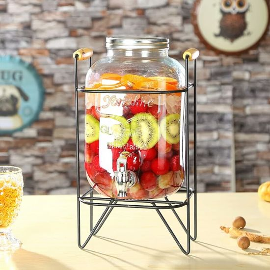Hot Sell Large Size Glass Jar with Metal Lid Juice Glass Dispenser