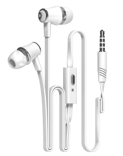 in-Ear Earbuds Flat Cable Earphone with Mic for Mobile Phone pictures & photos