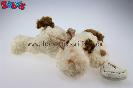 Cuddly Lying Stuffed Beige Dog Animal with Tan Ear and Heart Pillow Bos1190 pictures & photos
