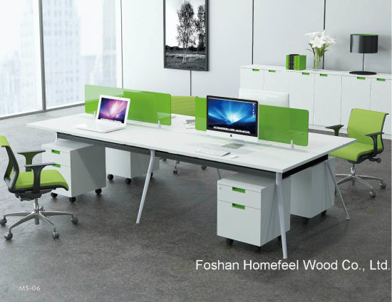 Modern Open Office Linear Workstation Table With Glass Divider (HF YZM006)
