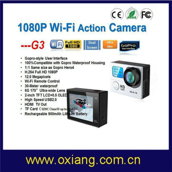 Full HD1080p Video Camera G3 Waterproof 30m Mini Camera Extreme Sports WiFi Sj7000 Action Camera Double Screens pictures & photos