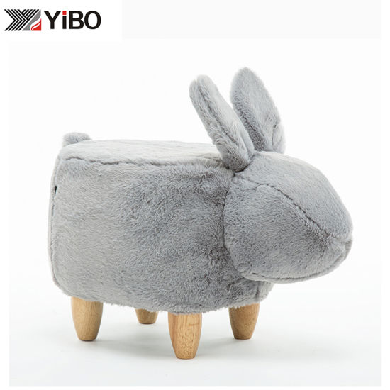 Change Shoes Wooden Animal Shape Stool Ottoman for Kids