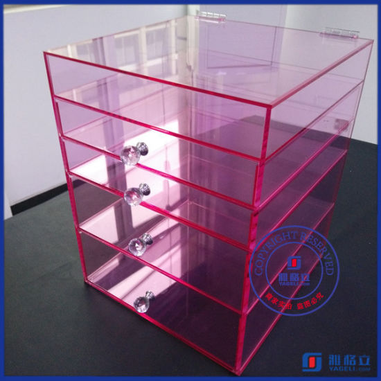 Yageli Baby Pink Fashion Design Acrylic Makeup Organizer with Handle Supplier pictures & photos