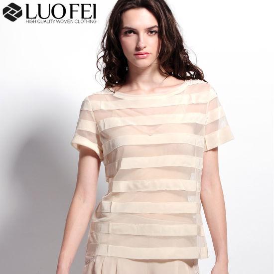b35291d2e7 Women Designer Mesh Organza Short Sleeve Bandage Stripe Top