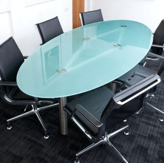 China Best Oval Flat Pencil Bevel Edge Frosted Tempered Dining - Frosted glass conference room table