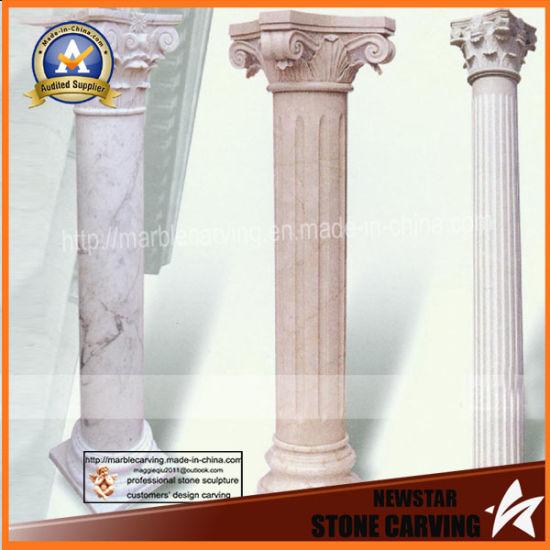 Indoor Marble Columns Hotel Stone Pillars Garden