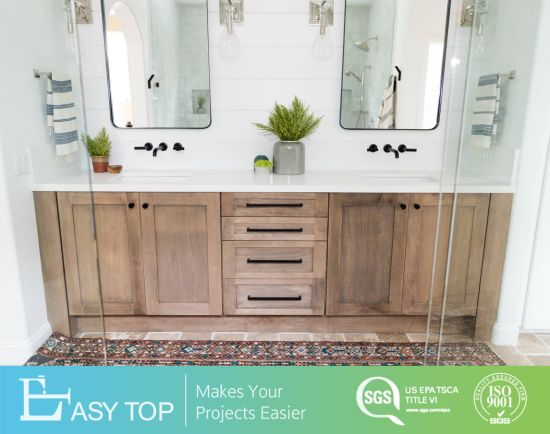 Eco Friendly Commercial Wooden Bathroom Nature Solid Wood Vanity Cabinet