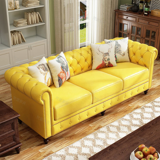High Density Foam Upholstered Wood Frame American Chesterfield Sofa Sets
