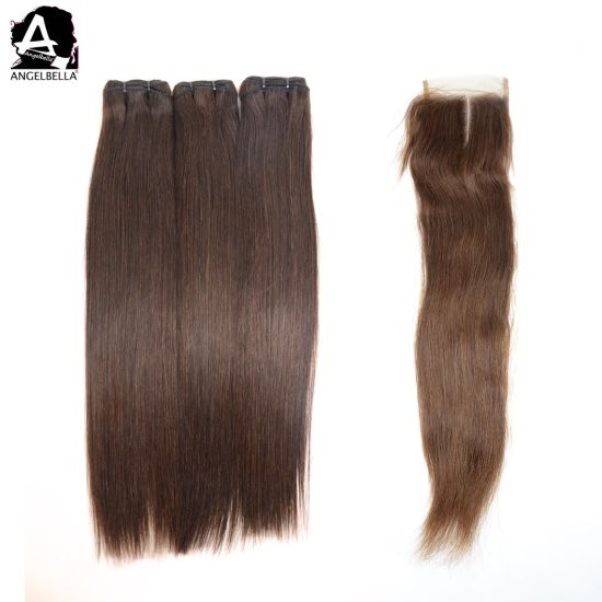 Angelbella Top Quality Virgin Hair 4# Silky Straight Hair Weaving with 4X4 Lace Closure