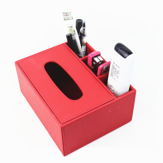 Red PU Leather Paper Towel Box Desktop Storage Box