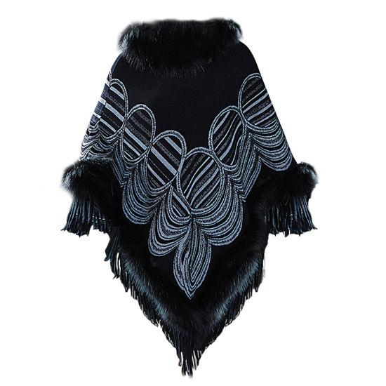Woman-Made Fox Fur Collar Cashmere Cloak Shawl Lady Knitted Jacket