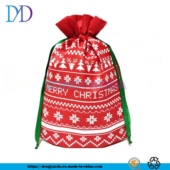 Custom Christmas Santa Sack PP Non Woven Drawstring Gift Bag