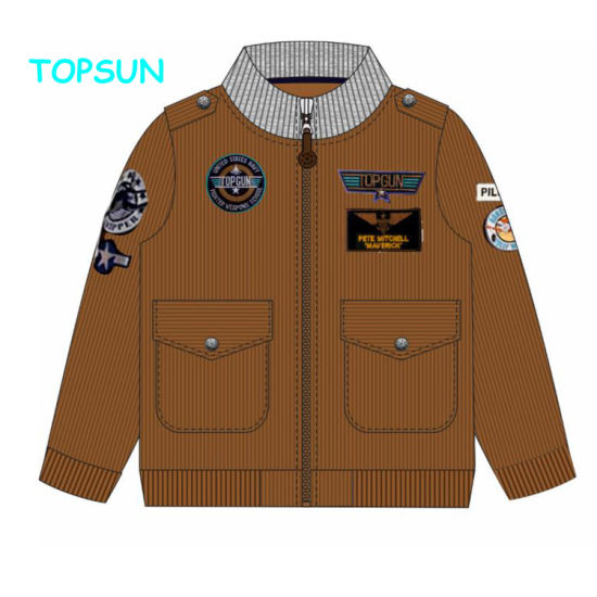 Fashion Children Full Zipper Bomber Jackets Kids Boys Embroidery Sport Jackets