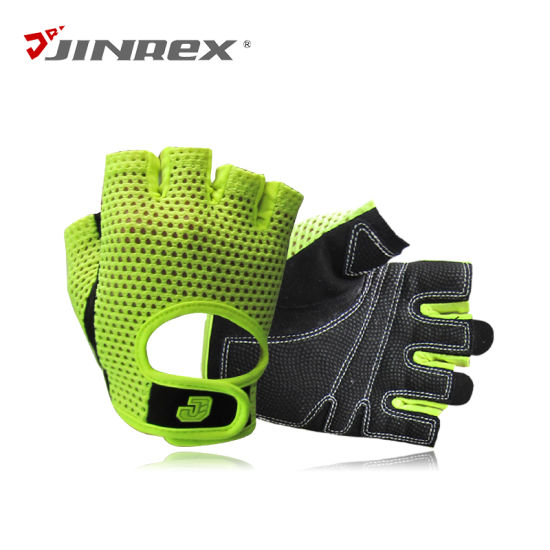 Leather//Mesh Cycling Gloves Riding Bicycle Finger less Sports Half Finger-Gym