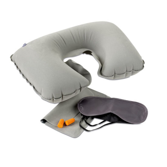 Travel Set Including a Velvet Inflatable Pillow, Eye Mask and Earplugs