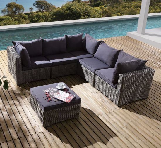 Outdoor Patio Office Home Hotel Wicker Garden Rattan Isabella Lounge Sofa  Set (J557)
