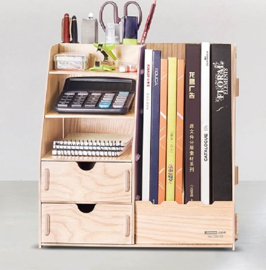 DIY Office Storage Box With Magazine Holder Wooden Color D9116