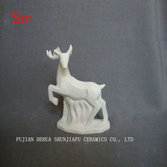 White Ceramic Decoration Animals Figurine Small Milu Deers Porcelain Sculptures Reindeers Crafts Christmas