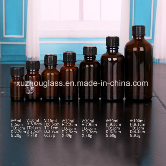 Different Size 5ml 10ml 15ml 20ml 30ml 50ml 100ml Amber Essential Oil Dropper Bottle with Cap pictures & photos