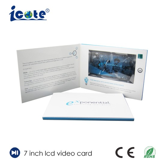 7 0 Inch LCD Video Card for Company Presentation with Glossy