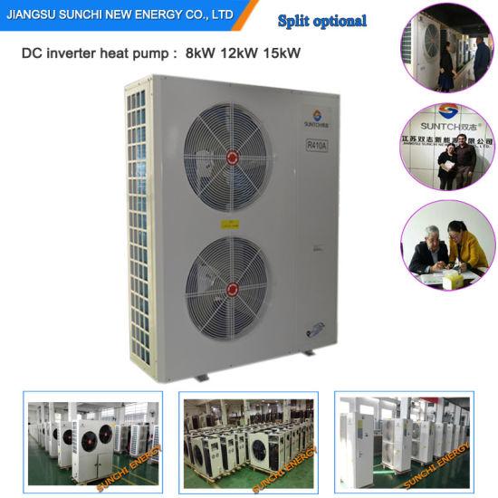Denmark -25c Winter Floor Heating 100~350sq Meter Room12kw/19kw/35kw Auto-Defrostcop Evi Air Source Split Heat Pump Water Heater