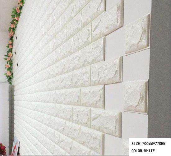 Home Decorative Easy Install Foam Sticky Wallpaper 700mmx770mm 3D