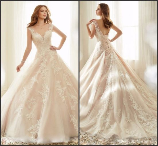China Cap Sleeves Bridal Ball Gown Lace Appliqued Blush Wedding ...