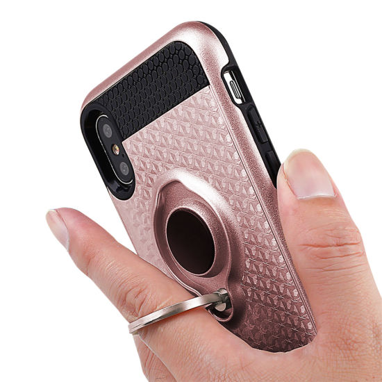 360 Degree Rotation Ring Kickstand TPU PC Combo Heavy Duty Hard Shell Phone Case for iPhone X pictures & photos