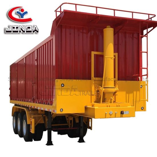 China Factory Jinda 3 Axle 50 Tons Heavy Duty Side Tipping Trailer/Dump Trailer/ Rear Dumper Tipping Trailer/Tipper Semi Trailer for Sale