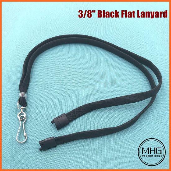Black Flat Polyester Lanyards with Breakaway