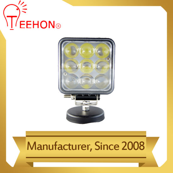 Square 27W LED Spot Work Lamp with 4D Lens