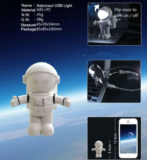 LED USB Night Light Cute Gravity Astronaut Spaceman Flexible Tube Night Lamp for PC Portable Power Laptop Keyboard Reading Lamp