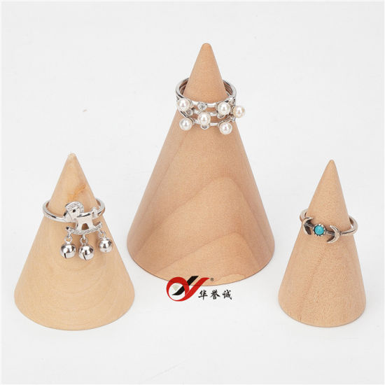 3 PCS One Set Cone Shape Original Wood Jewelry Display Holder/Organizer/Case for Rings pictures & photos