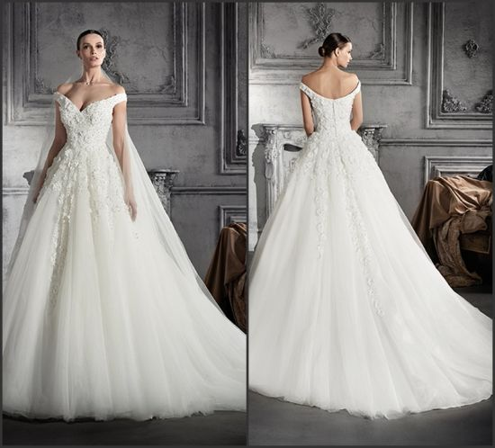 Beaded Lace Bridal Ball Gowns Sleeveless Tulle Wedding Dress A201729