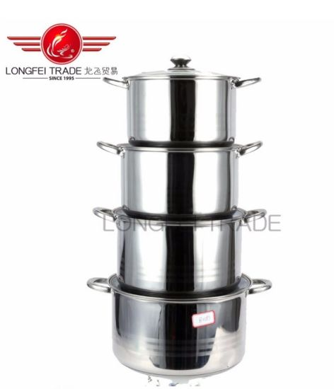 5PCS High Quality Stainless Steel Stock Cook Soup Pot Set